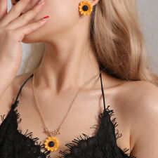 Sunflower Earrings Pendant Chain Necklace Women Fashion Jewelry Sets