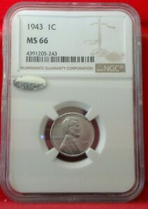 1943-P Lincoln Steel Cent NGC MS66 Bright w/ Littleton SELECT Label WWII