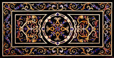 """48"""" x 24"""" Marble Dining Black Table Top Handmade Lapis Inlay Work Home Decor"""