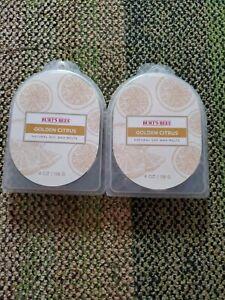 2 Burts Bees Golden Citrus Natural Soy Wax Melts 4 Oz Each Pkg Hexagon Shaped Ne