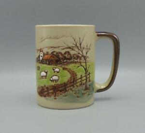 Vintage Coffee Mug Embossed Sheep/Lamb Farm Countryside Farm Brown