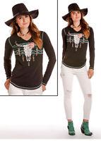 Panhandle Slim Ladies  Floral Steer Skull Black Long Sleeve Tee L8T5869 L8X5869