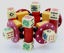 Signed JAN CARLIN Lucky Las Vegas Bakelite Mahjong Tile Poker Chip Dice Bracelet