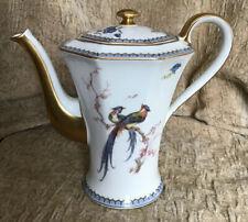 Excellent Gilt Theodore Haviland Limoges France Paradise Coffee Pot. Bird Gold