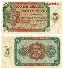 BILLETE DE 5 PESETAS DE 1938 (EBC) BURGOS (SERIE B)