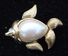 Vintage Signed MONET Goldtone Faux Pearl FISH Shape Pin Brooch