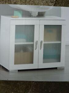 69x58x36Glass 2 Door Bathroom Under Sink Cabinet Undersink Cupboard(C)FreeUKPOST