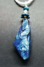 TITANIUM DRUZY QUARTZ PENDANT WHITE LEATHER CORD