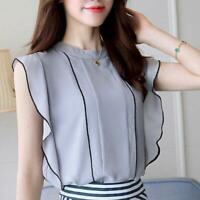 Ladies Korean Fashion Elegant Chiffon Shirt Ruffle Sleeve Slim Fit Blouse Summer