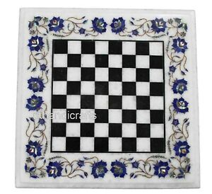 15 Inches White Marble Game Table Top Lapis Lazuli Stone Chess Board Inlay Work
