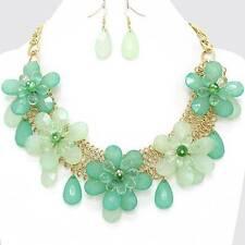 Chunky Bib Flower Charm Gold Chain Earring Necklace Set Fashion Costume Jewelry