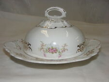 Vintage Round Dome Covered Butter Dish C P Co Dixie Pink Floral Design Gold Trim