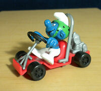Smurfs 40218 Go Cart Super Smurf Racing Kart Vintage PVC Figure Peyo Car Toy Lot