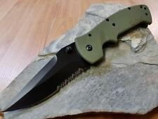 CRKT Crawford Kasper Folding Knife Combo Edge Drop Point OD Green Black 6783kod
