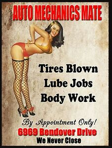 Auto Mechanics Mate, Vintage Style Metal Aluminium Sign, gift, garage, car, Rude