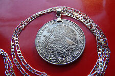 "Pendant & Chain,  Mexican Eagle Pesos Coin on a .925  28"" Sterling Silver Chain"