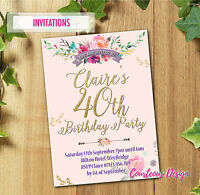 40th 50th 60th 30th 21st Personalised Birthday Party Invitations PINK+ Envelopes