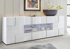 Credenza Moderna, Madia di Design, 2 ante e 4 cassetti, Bianco Lucido