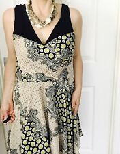 CUE WOMENS DRESS PRINTED LINED MADE IN AU V NECK SLEEVELESS SZ 14
