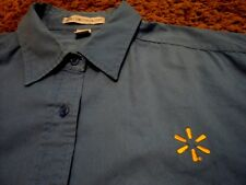 Women's Ladies ~ WAL-MART Logo ~ Short Sleeve Front Button Embroidered Shirt XL