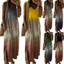 Women's Summer Sleeveless Tie Dye Long Maxi Dress Baggy Casual Kaftan Sundress