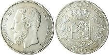 BELGIQUE  LEOPOLD  II  ,  5  FRANCS  ARGENT    1867