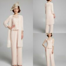 3PCS Chiffon Mother Of The Bride/Groon Pants Suits Outfits Jacket Lace Appliqued