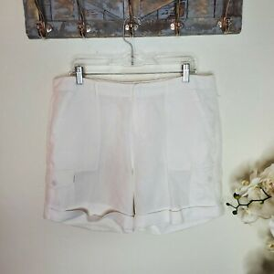 """Joie Linen Cargo Shorts Womens White Size 10 Cuffed Utility Pockets """"Pre-owned"""""""