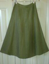 """CAROLE LITTLE Moss Green Linen Blend A-Line Maxi Skirt ~ Sz 4 / 28""""-30"""" Waist"""
