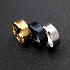 Women Men Titanium Stainless Steel Engagement Wedding Finger Ring Band Gold