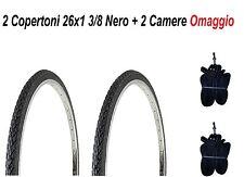 2 Copertoni Da Bici 26 Nero + 2 Camere Per Bicicletta 26x1 3/8 Olanda City Bike