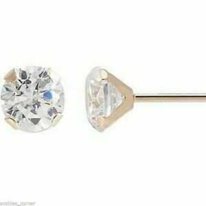 Genuine Diamond Stud Screw Back Earrings in Solid 14k Yellow gold