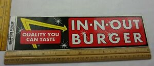"1980s In-N-Out Burger 12"" bumper sticker CA VINTAGE"