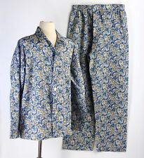 1970s Mens Pajamas Medium Permanent Press Blue Paisley PJs Marlowe Excellent