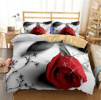 Bedding Set 3D Red Rose King Size Bed Sheet Duvet Cover Pillowcase Home Textile