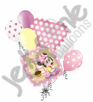 7 pc 1st Birthday Minnie Mouse Baby Balloon Bouquet Decoration Happy Birthday
