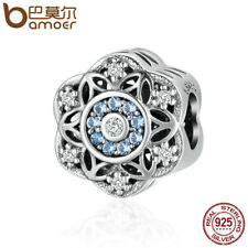 BAMOER 925 Sterling silver charm Romantic snowflake With CZ World For bracelet