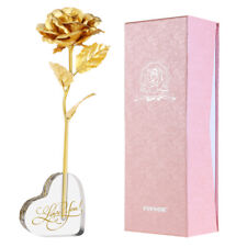 24k Gold Plated Heart Vase Rose Flower Anniversary Girlfriend Wife Romantic Gift