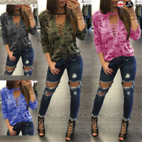 Womens Camo Lace-up V Neck Blouse Long Sleeve Casual Loose T-Shirt Tops Shirts