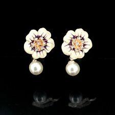 Boucles d'Oreilles Clous Fleur Rose Email Black Perle Blanche Original DD 2