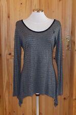 PLAYBOY black grey stripe longsleeve waterfall asymmetric tunic tshirt top 10 38