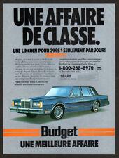 1986 LINCOLN Town Car Vintage Original Print AD - Blue car art Budget rent a car