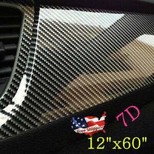 Auto Accessories 7D Glossy Carbon Fiber Vinyl Film Car Interior Wrap Stickers 7D
