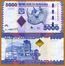 Tanzania 5,000 (5000) shillings 2010 (2015) P-43b, UNC > Rhino