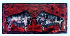 1950ies Gemälde - Kämpfende Stiere - C. Mario - Spachteltechnik