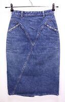 T27-2 Jeans-Rock blau wadenlang midi Bleistiftrock Nieten Gr. 34 Vintage 80's