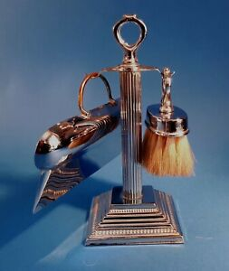 Antique 1930s Polished Chrome Dining Table Brush & Crumb Pan on Stand. Silver
