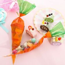 20Pcs Easter Gift Bags Plastic Easter Carrot Candy Bags Candy Cones Bags