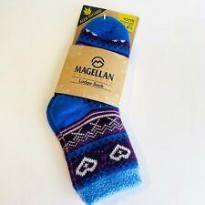 Magellan Outdoor Lodge Socks Youth Aloe Infused Fits Shoe Sz 10-4.5 Blue Purple
