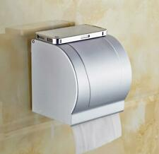 Wall Mounted Toilet Paper Roll Holder Tissue Box W/Cover, Space Aluminum Silver